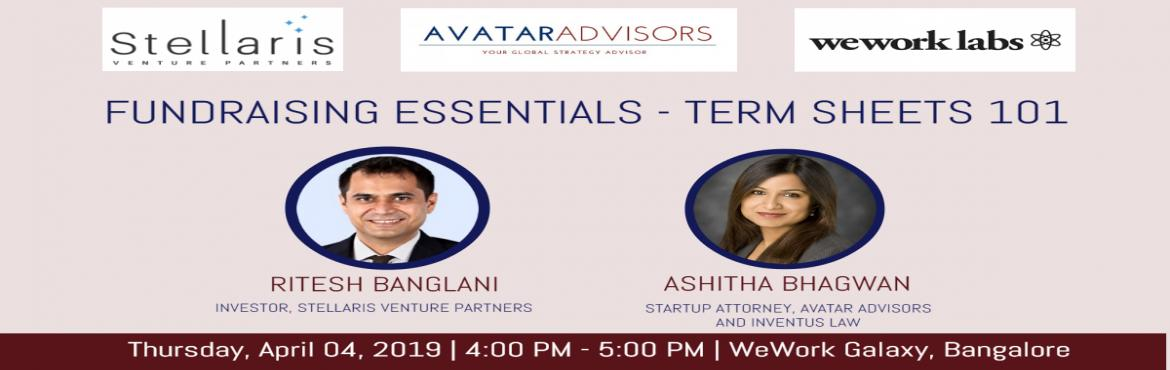 Book Online Tickets for Fundraising Essentials - Term Sheets 101, Bengaluru. Brief Overview: A term sheet is the first legal document that sets the tone for the investment round. In this session onTermSheets 101, our expert panel discusses the various terms that go into making a term sheet and how that