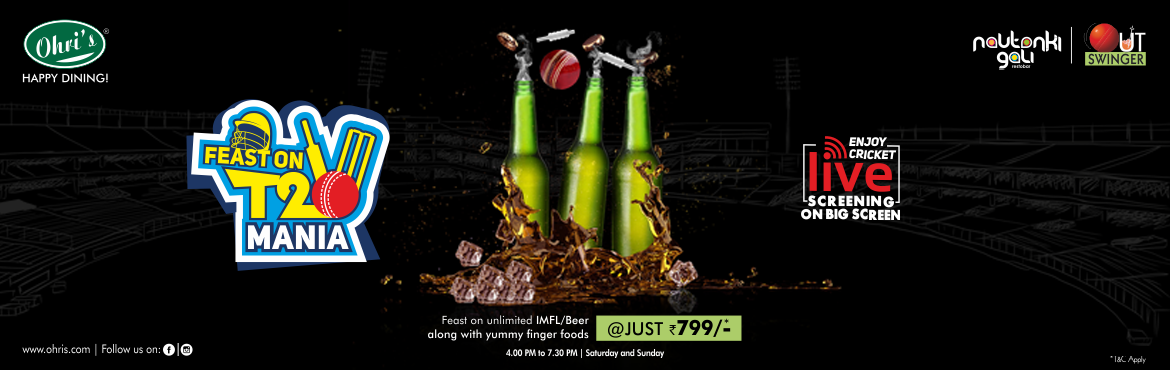 Book Online Tickets for IPL screening at Ohris Nautanki Gali, Hyderabad. T20 Weekends: Unlimited IMFL & Beer with Finger Food ----- Rs 799/- Food: 4 Veg starters +2 Chicken Starters+1 Fish Starter. Offer valid on selected Brands & Subjected to Availability (Kingfisher, Carlsberg, Draught beer, Tuborg, Black dog re