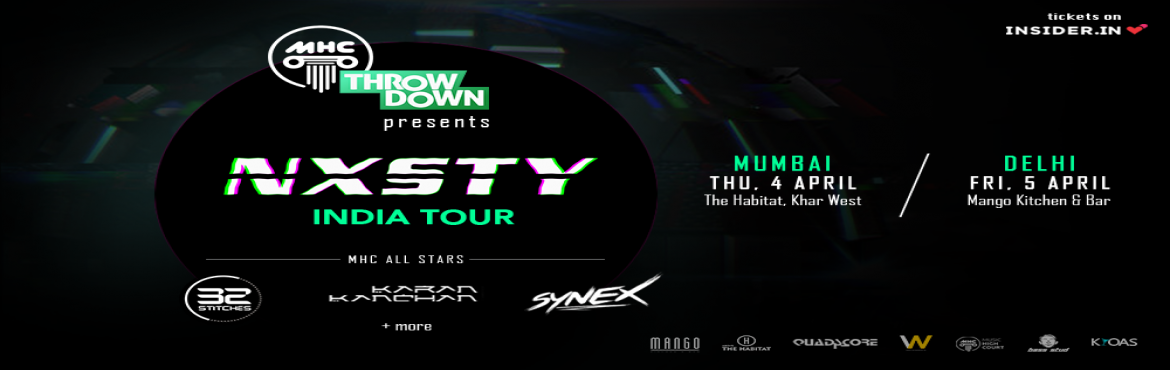 Book Online Tickets for NXSTY in Mumbai | MHC Throwdown x Neckwr, Mumbai. MHC Throwdownand Neckwreckare coming to Mumbai to wreck your Neck!! Announcing MHC ThrowdownChapter III with one of the hottest up-and-coming artists in the trap/bass industry -NXSTY About NXSTY: Born and raised in Vancouver,