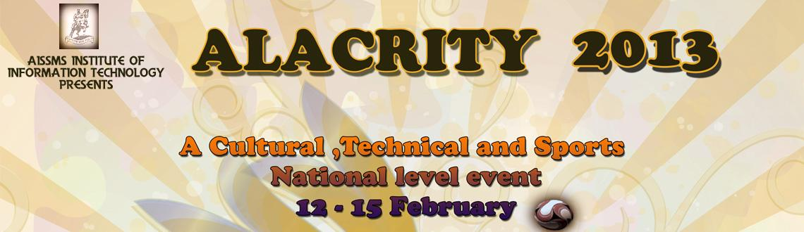 AISSMS's Institute Of Information Technology\'s annual intercollegiate national event- Alacrity \'13 from 12th February to 15th February 2013