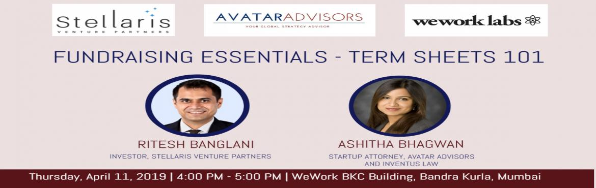 Book Online Tickets for Fundraising Essentials - Term Sheets 101, Mumbai. Brief Overview: A term sheet is the first legal document that sets the tone for the investment round. In this session on Term Sheets 101, our expert panel discusses the various terms that go into making a term sheet and how that impact