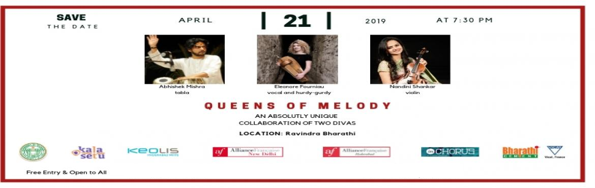 Book Online Tickets for QUEENS OF MELODY, Hyderabad. QUEENS OF MELODY  An Indo-French music concert on Sunday April 21st at Ravindra Bharathi Auditorium at 7.30pm.   An absolutely unique collaboration of two divas      For the first time these two gems of music will meet on stage and marry