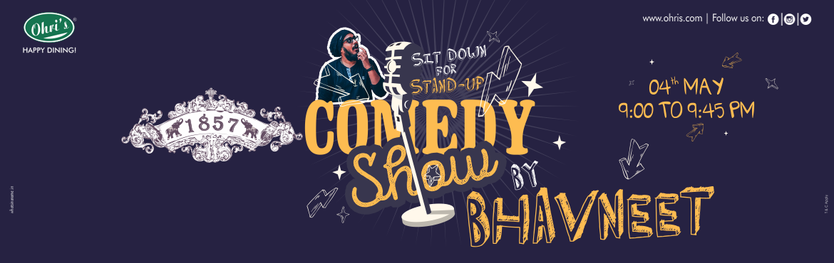 Book Online Tickets for Stand up comedy at Ohris 1857 restaurant, Hyderabad. Its Time to let out those soft giggles or Loud laughs. Drop by at Ohri's 1857 to witness one of the best standup comedians in action. Team the gig up with some great food and high spirits. Book your ticket before you miss the Fun.