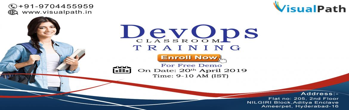 Book Online Tickets for DevOps Training in Ameerpet | Devops Onl, Hyderabad. Devops Project training in Hyderabad - Visualpath is one of the best DevOps Training Institutes in Hyderabad. We are also offeringDevOps Online Training globally and classroom training in Hyderabad location. For More Information please vi