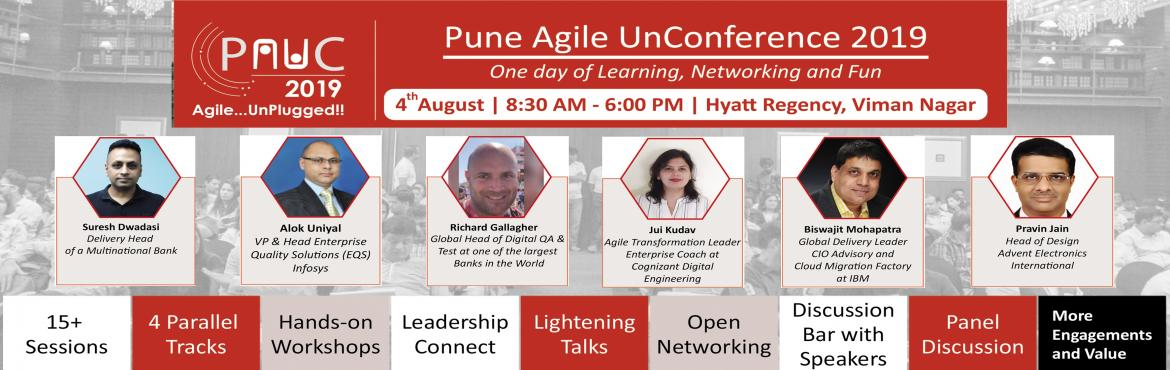 Book Online Tickets for Pune Agile UnConference 2019 (PAUC19) | , Pune. Scale Up Consultantspresents aone-day extravaganzaof Agile Knowledge sharing and networking in Pune. ***************************************** PUNE AGILE UN-CONFERENCE 2019 (PAUC19) | 4-August | Hyatt Regency (Viman Naga