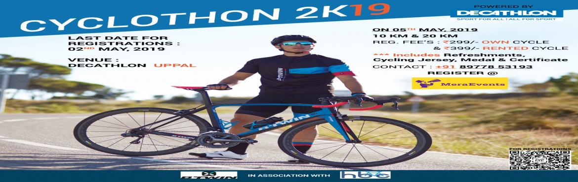 Book Online Tickets for CYCLOTHON2K19, Hyderabad. Decathlon presents the 6th edition of cyclothon on May 5th, join with your family & friends and witness with other hundreds of cyclist and experience the fun of cycling with a warm-up session of Zumba