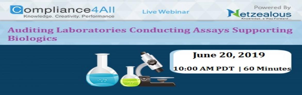 Book Online Tickets for Auditing Laboratories Conducting Assays , Fremont.  Overview:Sponsors or consultants auditing labs on behalf of a pharmaceutical or biopharmaceutical company need strong tools for preparing and conducting audits.Careful consideration of the work that will be performed at the laboratory provides