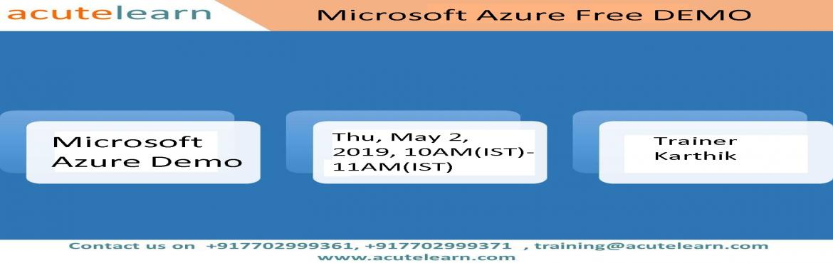 Book Online Tickets for Free Microsoft Azure demo session on 02-, Hyderabad.  Exam AZ-101: Microsoft Azure Integration and Security Training Exam AZ-100: Microsoft Azure Infrastructure and Deployment Training MS Azure Training This course provides knowledge on Azure Subscriptions, Azure Resource groups, Azure Virtual Ma