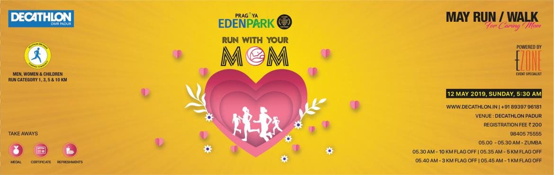 Book Online Tickets for Mothers Day Run at DECATHLON OMR Padur, Chennai. DECATHLON OMR Padur presents Mother\'s Day Run/Walk on 12 May 2019, Sunday 05:00 AM Men, Women & Children run along with Mothers. 05:00 AM ~ Zumba05:30 AM ~ 10 KM05:35 AM ~ 5 KM05:40 AM ~ 3 KM05:45 AM ~ 1 KM Book Now:https://www.meraevents.