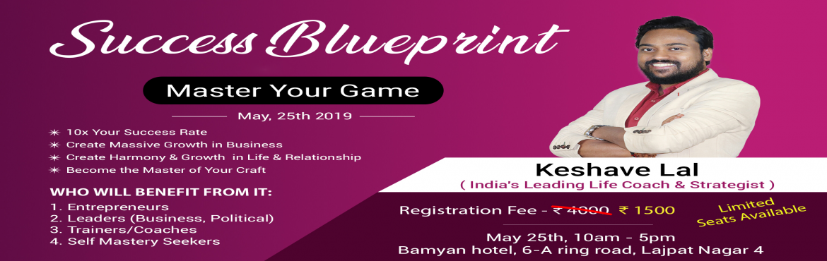 Book Online Tickets for Success Blueprint - Master your game., New Delhi.  Do you know, how your mental Blueprint and Strategies has a massive impact on your Business and Personal life.So much so that it can make you reach to the peak of your performance to create a massive result or can keep you at the lowest of your