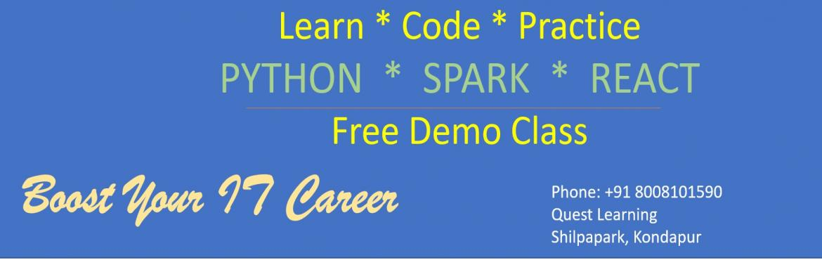 Book Online Tickets for FREE DEMO CLASS on PYTHON by QUEST LEARN, Hyderabad. Python is a general purpose programming language. it is now one of the most popular language. Its popularity is particularly important in the data science and machine learning fields. Python has a simple syntax that makes it suitable f