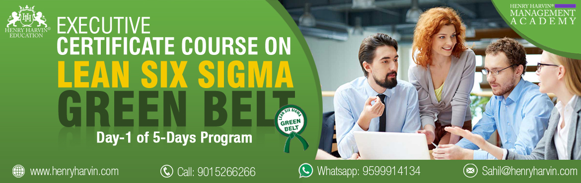 Book Online Tickets for Lean Six Sigma Green Belt Course by Henr, New Delhi.   Henry Harvin Education introduces 1-days/4-hours Live Online Training Session. Based on this training, examination is conducted, basis which certificate is awarded. Post that, 6-months/12-hours Live-Online Action Oriented Sessions with focus