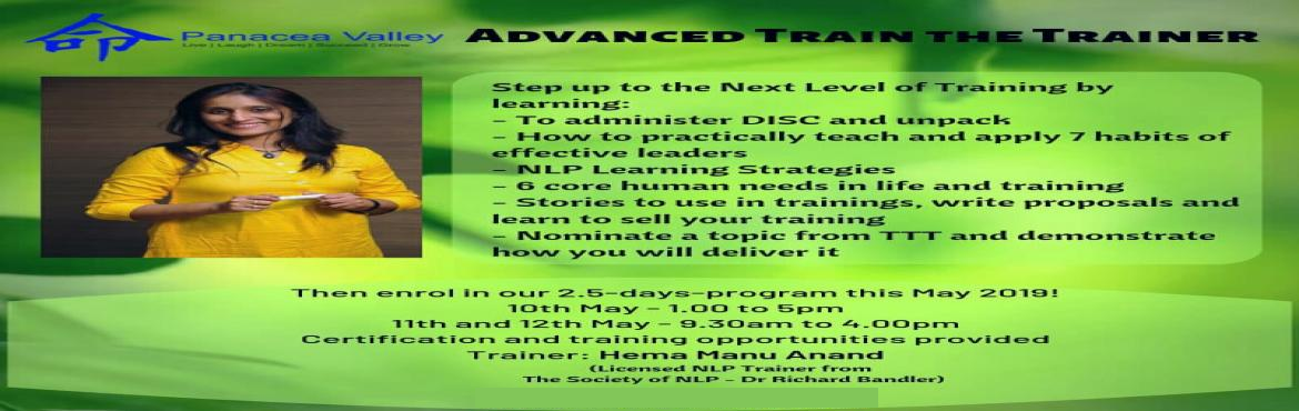 Book Online Tickets for Advanced Train the Trainer Workshop, Chennai. The workshop is for 2 1/2 days. On 10th May from 1 pm to 5 pm. On 11 May and 12 May from 9.30 am to 4.30 pm. We will cover  how to administer paper based questionnaire and unpack DISC for audience; 15 team building activities; powerful stories to use