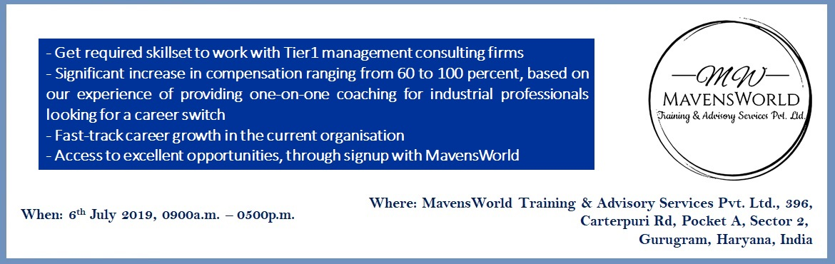 Book Online Tickets for EBIDTA Improvement in Manufacturing - In, Gurugram. What is this program about? Mavensworld works with leading global consulting and manufacturing companies to help them identify superior talent to drive EBIDTA improvement programs. During the course of our interactions with industry leaders , we have