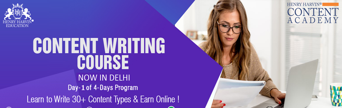 Book Online Tickets for Content Writing Course by Henry Harvin E, New Delhi. Henry Harvin Educationintroduces 8 hours Classroom Based Training and Certification course on content writing creating professional content writer, marketers, strategists. Gain Proficiency in creating 30+ content types and become aCertifi