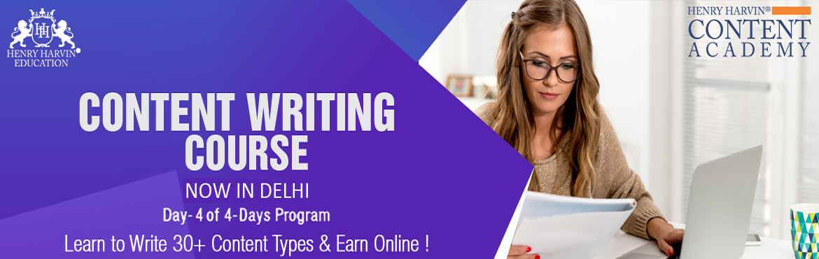 Book Online Tickets for Content Writing Course by Henry Harvin E, New Delhi. Henry Harvin Education introduces 8 hours Classroom Based Training and Certification course on content writing creating professional content writer, marketers, strategists. Gain Proficiency in creating 30+ content types and become a Certified Digital