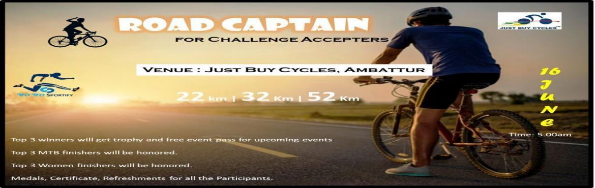 Book Online Tickets for Road Captain - For Challenge Accepters, Chennai. About the Event: Road captainis the name for the rider who coordinates a multiple-bike ride, the power of the bicycle to connect our communities and our cities.The ride is a fun, social (non-competitive) event and is open to everyone from those