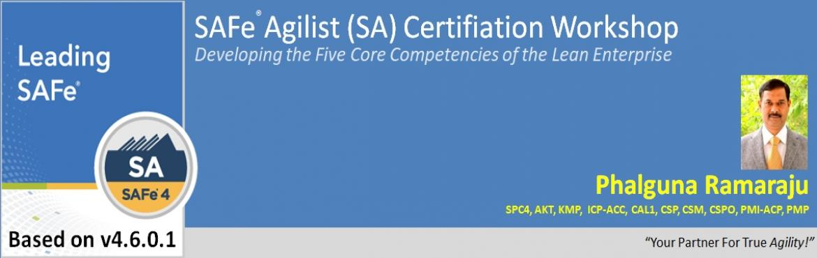 Book Online Tickets for Leading SAFe 4.6.0.1 - SAFe Agilist (SA), Hyderabad. Leading SAFe 4.6.0.1 - SAFe Agilist (SA) Certification Course Outline Summary During this two-day course, attendees will gain the knowledge necessary to lead a Lean-Agile enterprise by leveraging the Scaled Agile Framework® (SAFe®), and its u