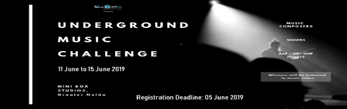 Book Online Tickets for Underground Music Challenge, Greater No. Minibox Studio - Underground Music Challenge is a competition designed especially for the young and aspiring musicians and artists who want to showcase their talent and need a platform to produce and record their music and songs.
