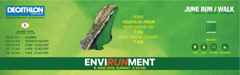Book Online Tickets for Decathlon Run Series - Run For Environme, Chennai. DECATHLON OMR Padur presents ENVIRONMENT DAY RUN/Walk on 9 June 2019, Sunday 05:00 AM Men, Women & Children 05:30 AM ~ Zumba06:00 AM ~ 10 KM06:05 AM ~ 5 KM06:10 AM ~ 3 KM06:15 AM ~ 1 KM Registration Fees: INR 200 & INR 450 (Includes T-shirt)
