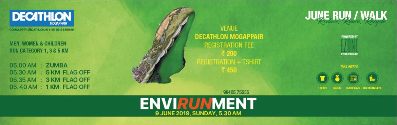 Book Online Tickets for DECATHLON RUN SERIES - ENVIRONMENT DAY R, Chennai. DECATHLON Mogappair presentsEnvironment Day Run/Walkon9 June 2019, Sunday 05:00 AM Men, Women & Children 05:00 AM ~ Zumba 05:30 AM ~ 5 KM 05:35 AM ~ 3 KM 05:40 AM ~ 1 KM  Registration Fees: INR 200 &