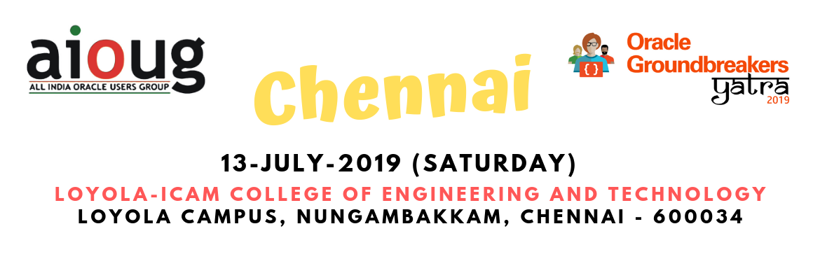 Book Online Tickets for Oracle Groundbreakers Yatra - Chennai, Chennai. What is Oracle Groundbreakers Yatra? The Oracle Groundbreakers / Oracle ACEs/ Oracle User Group Evangelists in the region are organizing an event called 'Oracle Groundbreakers Yatra' during the month of July 2019. This Yatra or Tour is a
