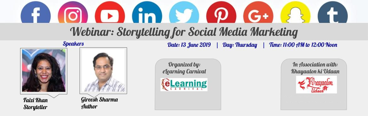 Book Online Tickets for Webinar - Storytelling for Social Media , Ghaziabad. About the Webinar: Customers, investors, potential employees or learners engage with us to listen to our story. They buy our brand to tell stories and we have to give them one! Storytelling is the most important task of any Entrepreneur or a Sales/ M