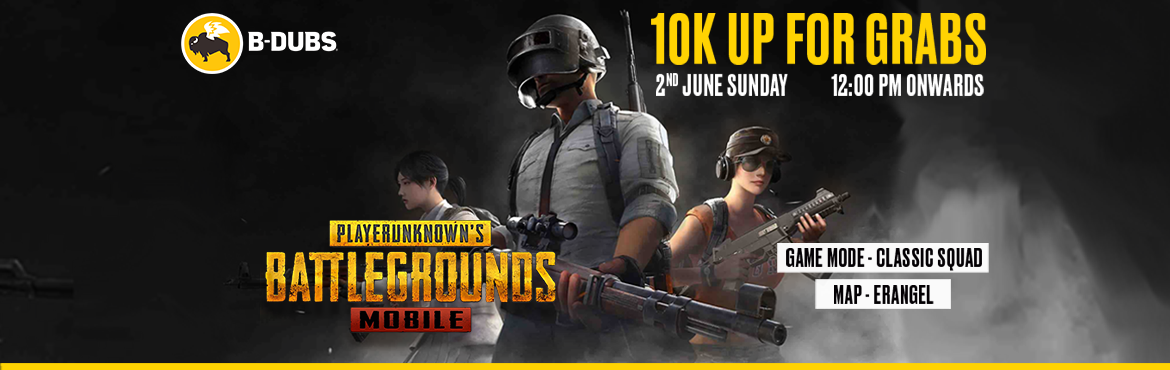 Book Online Tickets for B-Dubs PUBG Mobile Tournament, Hyderabad. Bring on your squad to participate in the most amazing experience of PUBG Mobile. Take part in the B-Dubs PUBG Mobile battle royale and witness the fun of a 100 man PUBG Battle Royale under one roof.    Stand a chance to win Cash Prize and