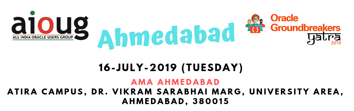 Book Online Tickets for Oracle Groundbreakers Yatra - Ahmedabad, Ahmedabad. What is Oracle Groundbreakers Yatra? The Oracle Groundbreakers / Oracle ACEs/ Oracle User Group Evangelists in the region are organizing an event called 'Oracle Groundbreakers Yatra' during the month of July 2019. This Yatra or Tour is a