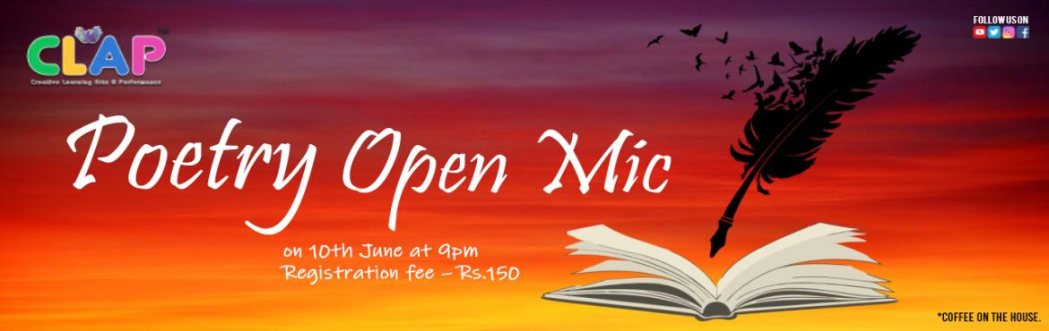Book Online Tickets for Poetry Open Mic, Mumbai. We started with a few of you, Now we have a family that grew. From shayaris to poetries that our stage had, We felt happy as our family grew bigger like a lad. Welcoming all you poets to join us again, Come and share your poetries at our den. Date- 1