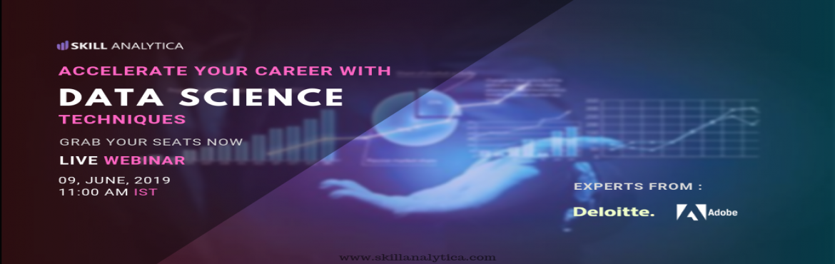 Book Online Tickets for Enroll For The Free Interactive Data Sci, Chennai. Make the best career movie by attending for the Free Data Science (online Webinar) scheduled On 9th June . The event is For 1 hour including Q&A Session.  Webinar Highlights: Q&A Sessions Intro to R How are tools used in real-time industry sc