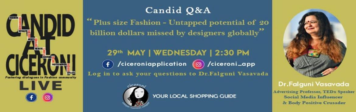 Book Online Tickets for Candid at Ciceroni Live with Dr Falguni , Ahmedabad. \
