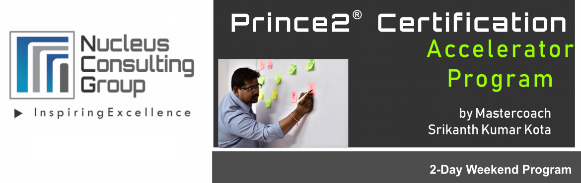 Book Online Tickets for NCGs Prince2 Certification Accelerator P, Pune. About The Event  Nucleus Consulting Group has announce dates for its flagship Prince2 Certification Accelerator Program. Workshop Dates:  15th, 16th June \' 19 Location: B-4 ,Sukhwani Park, North ov Main Road, Koregaon Park, Pune.  \'Limite