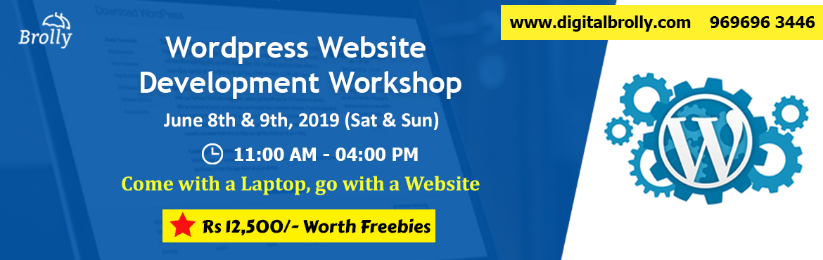 Book Online Tickets for  WordPress Website Development Workshop , Hyderabad. WordPress Website development Workshopis a two days workshop conducted by Digital Brolly (Madhapur Branch). Our Web Development Expert trainers, Madhan Mohan & Ravi Varma, will be taking the WordPress Website Development Workshop on 8th &am