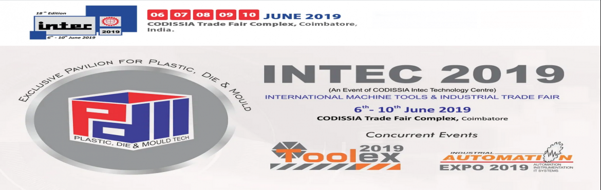 Book Online Tickets for Intec 2019, Coimbatore. This much-awaited International Industrial Trade Fair INTEC 2019 is brought to you by CODISSIA INTEC TECHNOLOGY CENTRE, brings together the very best in technological advancement. INTEC is a congregation of various Industries exhibiting their finest