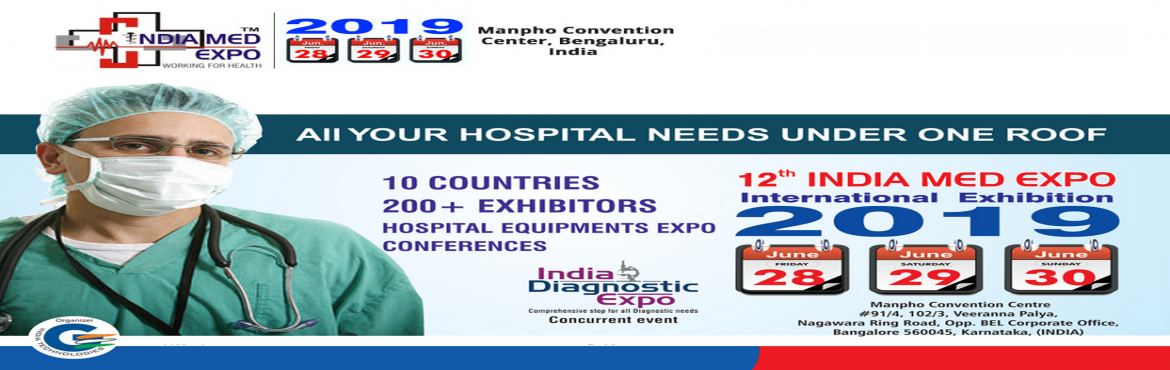 Book Online Tickets for India Med Expo 2019, Bengaluru. We are please to inform you G India Technologies is organising India Med Expo 2019 which will take place on 28,29,30 June 2019 at Manpho Convention Center, Bengaluru. India Med Expo is India's No. 1 Trade Fair for hospitals, health care centers