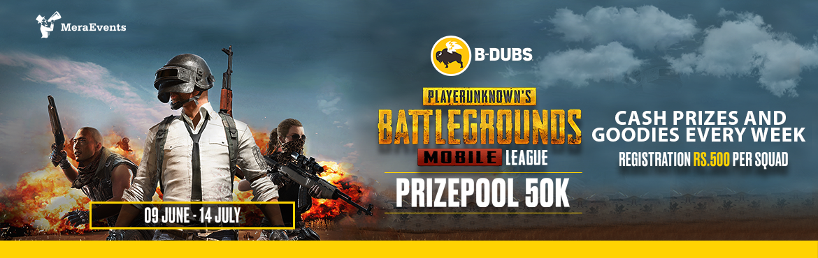 Book Online Tickets for B-Dubs PUBG Mobile League (Weekends), Hyderabad. Bring on your squad to participate in the most amazing experience of PUBG Mobile. Take part in the B-Dubs PUBG Mobile League and witness the fun of a 100 man PUBG Battle Royale under one roof and stand a chance to win the B-Dubs PUBG Mobile league al