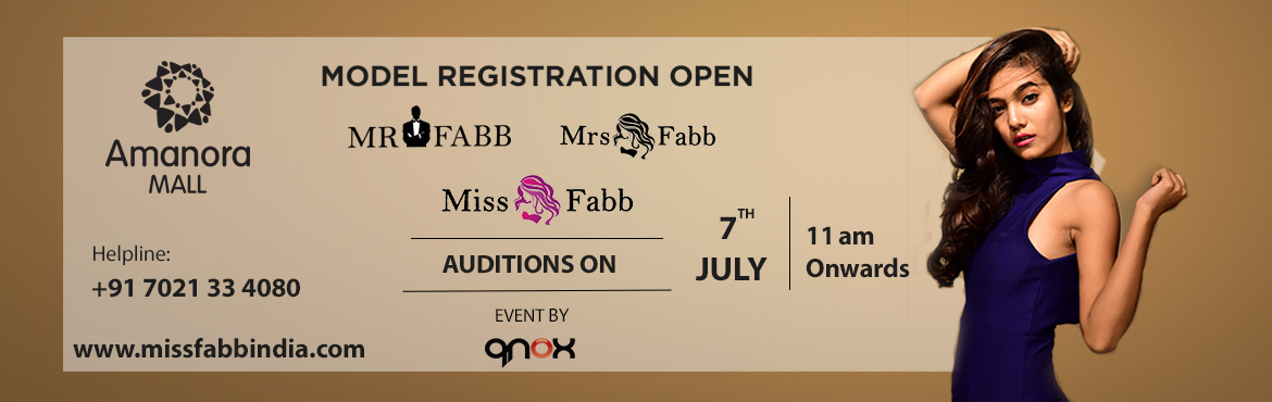 Book Online Tickets for Miss / Mrs / Mr Fabb Pune Auditions, Pune. Audition for biggest beauty pageant of Pune city. (Miss Fabb Pune / Mrs Fabb Pune / Mr Fabb Pune) Once you are selected in the audition you will go through the training and grooming session which will be held on 12th, 13th, 14th, 18th, 19th, 20th Jul