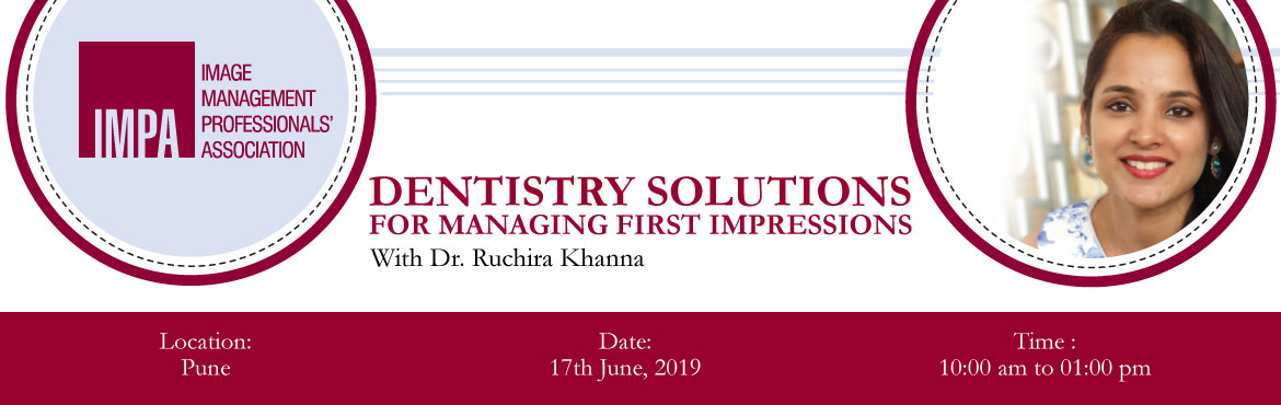 Book Online Tickets for Dentistry solutions for managing First I, Pune. ABOUT THE EXPERT - DR. RUCHIRA KHANNA Dr Ruchira Khanna has done her B.D.S (Bachelor in Dental Surgery) and her M.D.S (Masters in Dental surgery) in Prosthodontics. She has been practising in Pune since 2006. Dr Khanna\'s Dental Clinic has been ranke