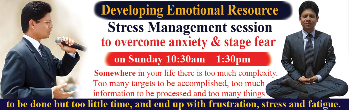 Book Online Tickets for Free Stress Management session on Sunday, Hyderabad. Please register for a free Stress Management session on Sunday 10:30am – 1:30pm at our Hyderabad Centre. You can have Stress Management Coaching Session over phone to be free of tension, anxiety and stress.  Somewhere in your life there is too