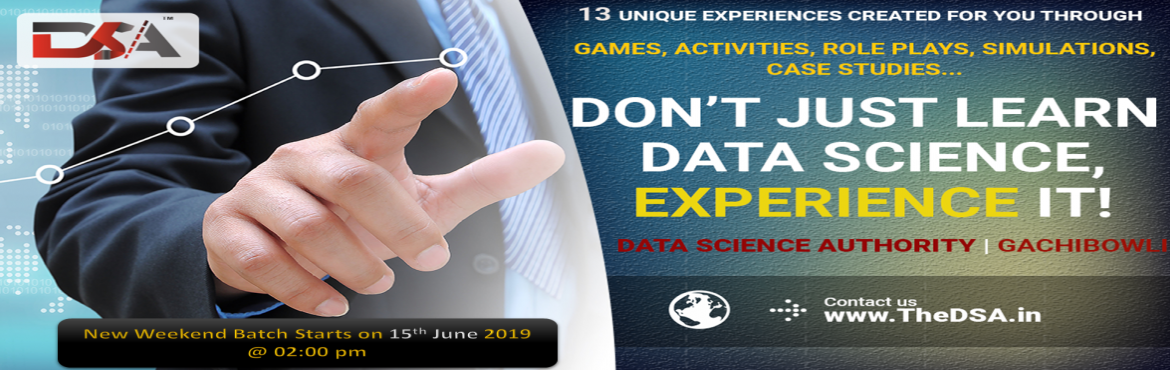Book Online Tickets for Data Science Certification Program By Da, Hyderabad. Data Science Certification Program Data Science Authority presents India's first Experiential Training program in the field of Data science. It is created and executed by highly qualified Mentor Team with more than 10 years of working experienc