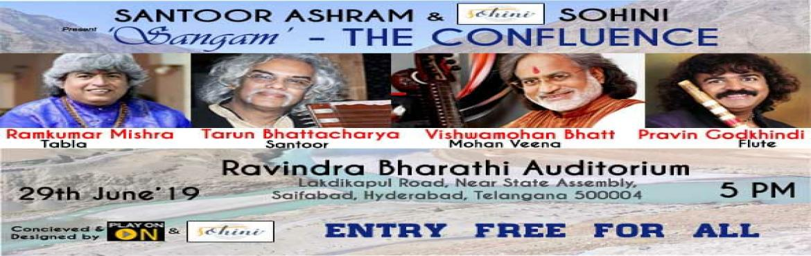 Book Online Tickets for Sangam - The Confluence, Hyderabad.  A grand concert featuring the maestros of Hindustani classical music Pandit Vishwamohan Bhat (Mohan Veena), Pandit Pravin Godkhindi (Flute) and Pandit Tarun Bhattacharya (Santoor) accompanied by the renowned Tabla maestro Pandit Ramkumar Mishra