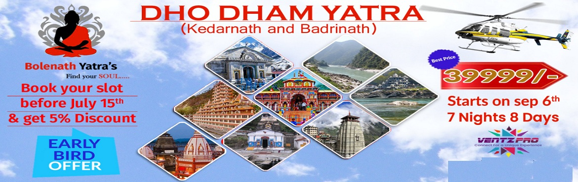 Book Online Tickets for DHO DHAM YATRA (KEDARNATH BY HELICOPTER), Hyderabad. Day 01: Hyderabad-Delhi-Haridwar:Early morning flight to arrive at Delhi and drive to Haridwar (205Kms) 5Hrs. Local sight-seeing tour of Haridwar and Ganga Aarti at HarkiPauri. Stay overnight at the hotel in Haridwar. … Day 02: Haridwar-