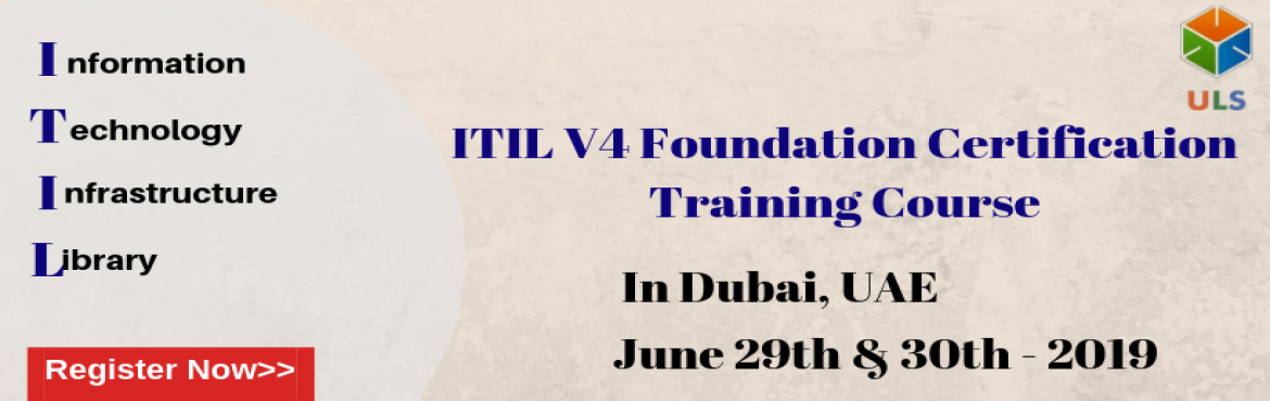 Book Online Tickets for ITIL V4 Certification Training Course in, Dubai. Ulearn System\'s OfferITIL V4 Foundation Certification Training Course Dubai, UAE. TheITIL V4 certification Training in Dubai, UAEis for those professionals who wish to demonstrate their knowledge of theITIL V4 schemein