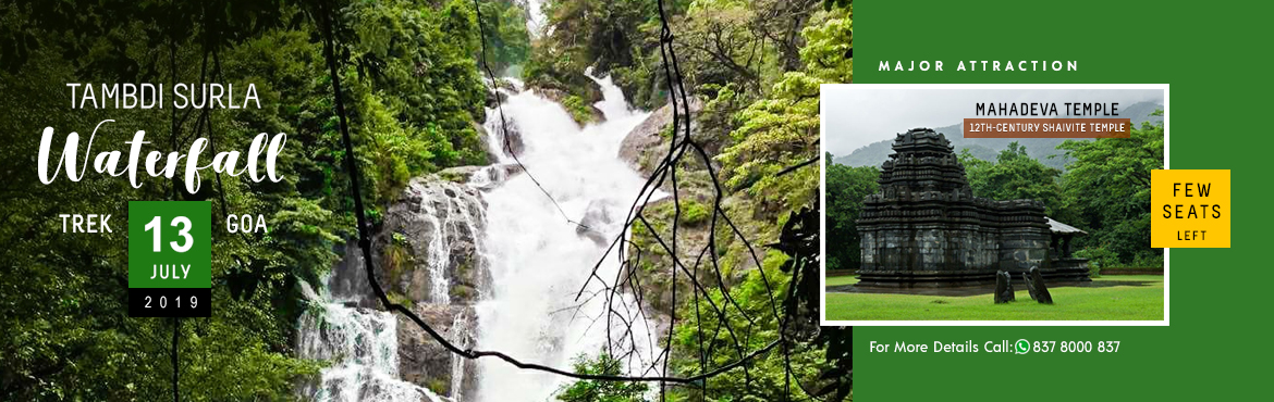 Book Online Tickets for Goa Monsoon Trekking, Panaji. Tambdi Surla waterfall trek is one of the best moderate trek in Goa. The Flow in the monsoon will be as good as seen in the pics attached.  The entire route is a pathway sometimes crossing the springs and unroute by the bank of the stream water.