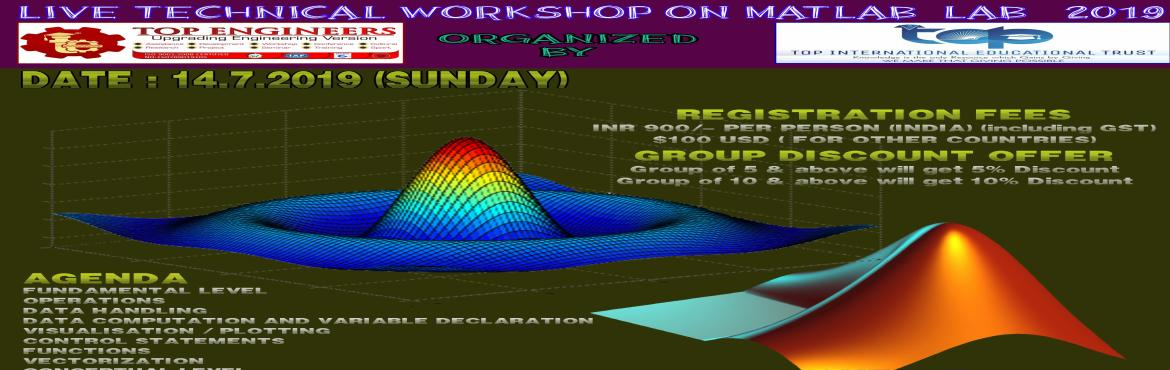 Book Online Tickets for LIVE TECHNICAL WORKSHOP ON MATLAB (LAB-2, Chennai.     AGENDA   FUNDAMENTAL LEVEL OPERATIONS DATA HANDLING DATA COMPUTATION AND VARIABLE DECLARATION VISUALISATION / PLOTTING CONTROL STATEMENTS FUNCTIONS VECTORIZATION CONCEPTUAL LEVEL IMAGE PROCESSING TECHNIQUES MACHNINE LEARNING WITH MATLAB CAPSTONE