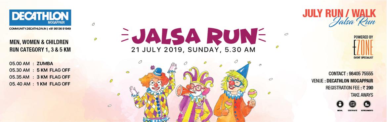 Book Online Tickets for Deacthlon Run Series - Jalsa Run, Chennai. DECATHLON Mogappair presents JALSA Run/Walk on 21 July 2019, Sunday 05:00 AMMen, Women & Children05:00 AM ~ Zumba05:30 AM ~ 5 KM Flag-off05:35 AM ~ 3 KM Flag-off05:40 AM ~ 1 KM Flag-offRegistration Fees: INR 200 & INR 450 (Includes T-sh
