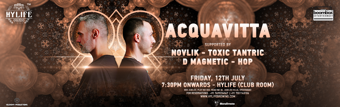 Book Online Tickets for Acquavitta - India Tour // Hyderabad, Hyderabad.   Intercontinental producer duo Von Zeus & Nirix are the heart & soul of progressive/high tech/psy-trance phenomenon that is ACQUAVITTA.   Both producers spearheading the Psy-trance in their own countries wi