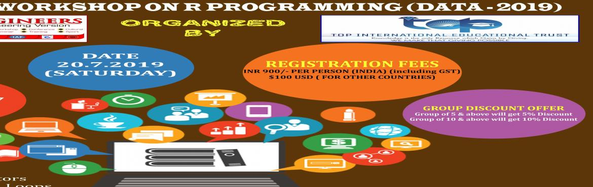 Book Online Tickets for INTENSIVE WORKSHOP ON R PROGRAMMING (DAT, Chennai.     AGENDA   Introduction Data types Variables and Operators Decision Making and Loops Functions Packages Handling CSV files Charts and Graphs R-Statistics      Workshop Terms and Conditions: * This Workshop is strictly for STUDENTS, since the