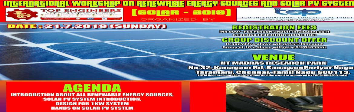 Book Online Tickets for INTERNATIONAL WORKSHOP ON RENEWABLE ENER, Chennai.     AGENDA   INTRODUCTION ABOUT ALL RENEWABLE ENERGY SOURCES, SOLAR PV SYSTEM INTRODUCTION, DESIGN FOR 1KW SYSTEM HANDS ON SOLAR PV SYSTEM         CHIEF GUEST       MR.WONDWOSSEN ASTATIKE HAILE ELECTRICAL AND COMPUTER ENGINEERING